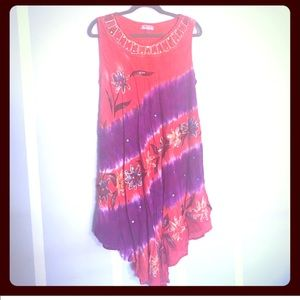 Dresses & Skirts - Women's Dress with Tie Dye and Embellishments